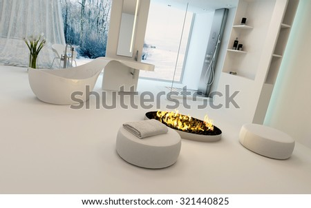 Cozy bathroom interior in winter with a modern circular fire burning in the center of the room alongside a freestanding bathtub with a view of a snowy garden through large windows. 3d Rendering. - stock photo
