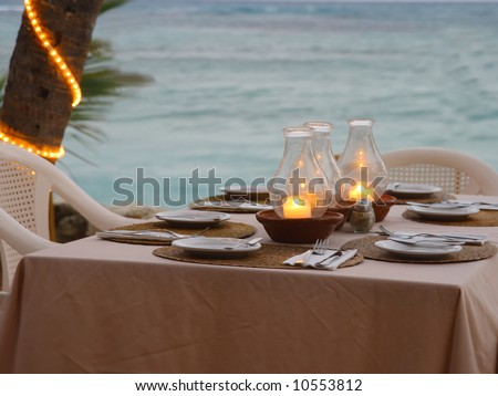 Cozy beach restaurant table setting