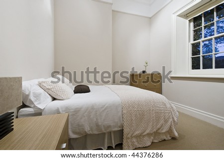 cozy bedroom with modern furniture and accessory - stock photo