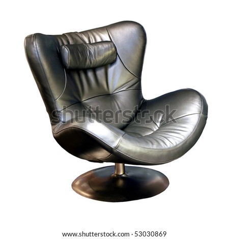 Cozy black leather lounge chair with clipping path - stock photo