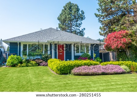 Beautiful Landscaping cozy house beautiful landscaping on sunny stock photo 280251458
