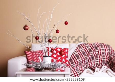 Cozy Christmas home interior - stock photo