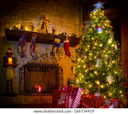 Cozy Christmas scene featuring a fireplace, gifts, and a decorated