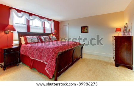 Cozy classic red and white bedroom. - stock photo