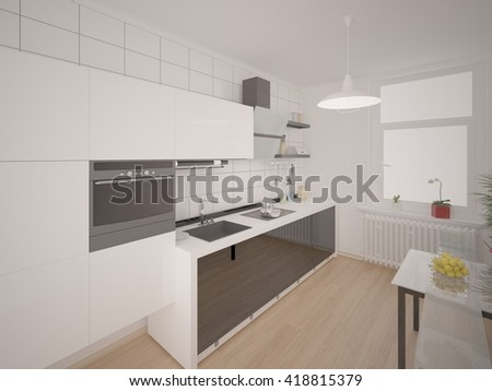 Cozy compact kitchen with functional furniture, 3d rendering.
