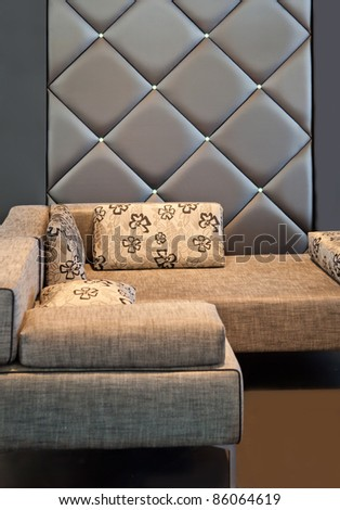 cozy corner with sofa in living room - stock photo