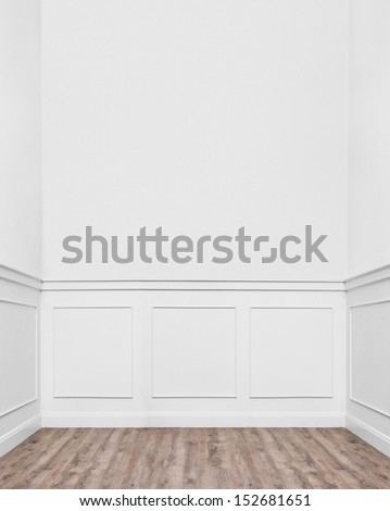 cozy empty room with bright style interior and laminate wooden floor.  - stock photo