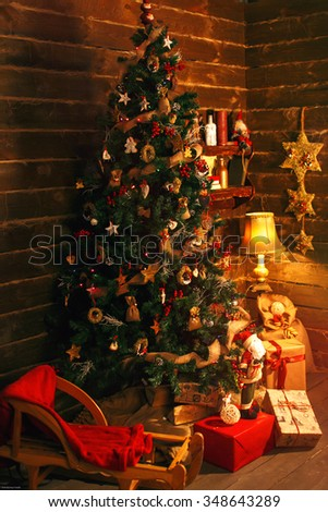 cozy holiday room with christmas tree and gifts