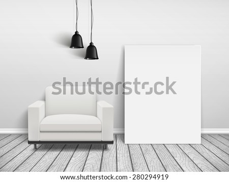 cozy house interior scene with blank sofa and poster frame  - stock photo