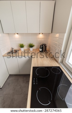 Cozy kitchen in traditional design - view from above - stock photo