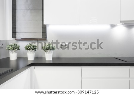 Cozy kitchen interior in modern detached house - stock photo