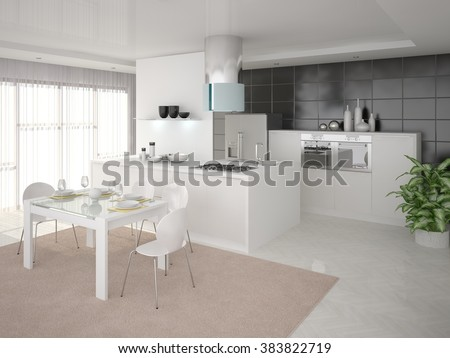 Cozy kitchen with modern design, 3d rendering. - stock photo