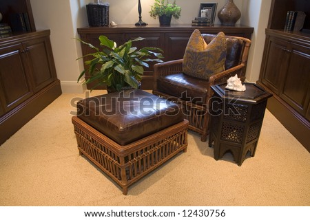Cozy leather lounge in a luxury home. - stock photo