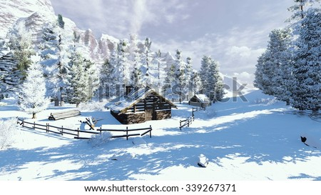 Cozy little cabin and snowy spruces high in mountains at sunny winter day. Decorative 3D illustration was done from my own 3D rendering file. - stock photo