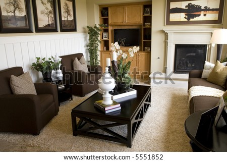 cozy living room and fireplace - stock photo