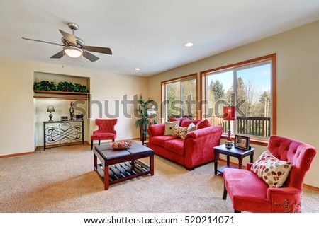 Cozy Living Room Interior With Red Velvet Furniture. Northwest, USA Part 98