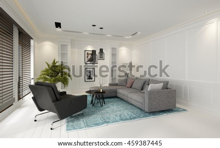 Cozy modern white living room interior with large windows covered by Venetian blinds, a comfortable grey couch and armchairs on a blue carpet and a large potted palm in the corner, 3d rendering
