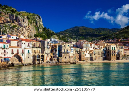 cozy old houses in the port of Cefalu, Sicily - stock photo