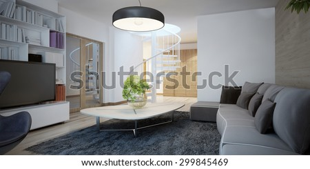 Cozy sitting room design. The design of the living room in a cottage with dark furniture and walls combined decoration. 3D render - stock photo