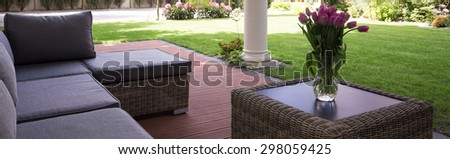 Cozy space for relax in the garden - stock photo