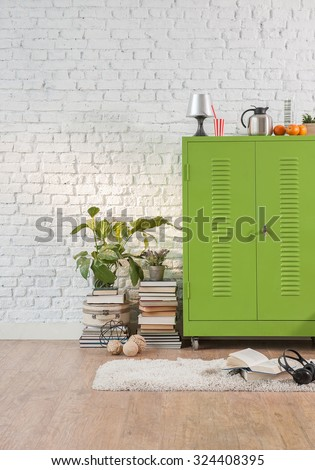 cozy study room of the young student interior concept with green cabinets - stock photo