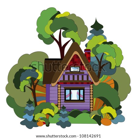 cozy village house from the various elements in the forest - stock photo