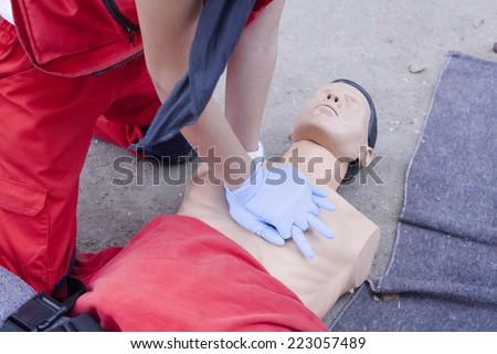 CPR - Cardiopulmonary resuscitation - stock photo