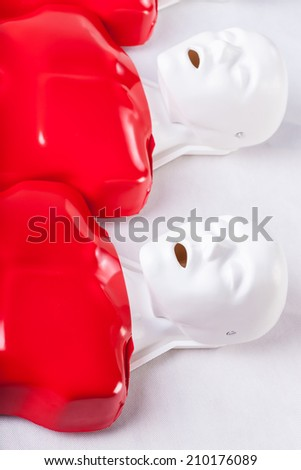 Cpr dummies using to learning of resuscitation - stock photo