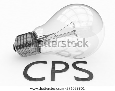 CPS - Cost per Sale - lightbulb on white background with text under it. 3d render illustration. - stock photo