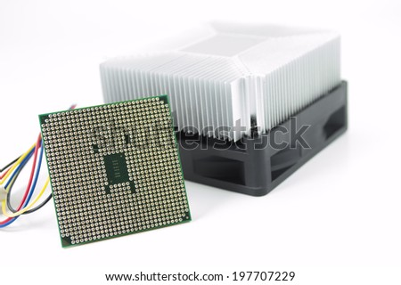 Cpu and cooling fan with heat-sink on white background - stock photo