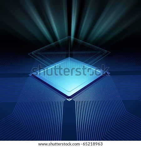 CPU background with blueprint and radial light - stock photo