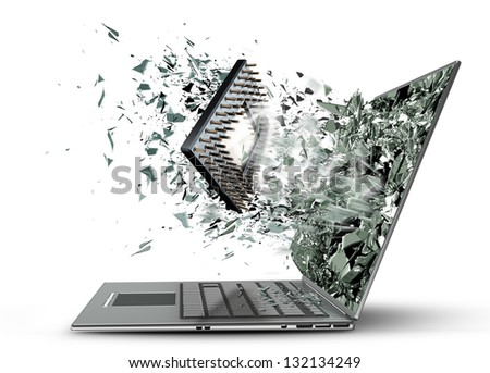 CPU broke screen on laptop isolated white background  High resolution 3d - stock photo