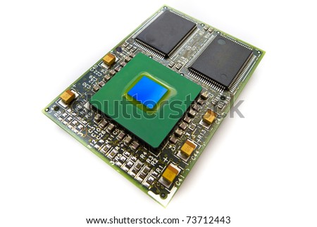 CPU card with cache chips - stock photo