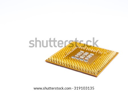 CPU chip close up isolated. - stock photo