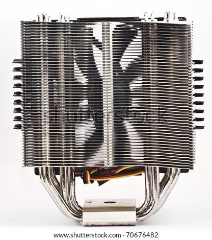 cpu cooker, heat sinc rear view with 1 fan - stock photo