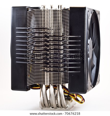 cpu cooler, heat sinc with 2 fans side view - stock photo