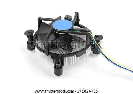 CPU cooler isolated on white background - stock photo