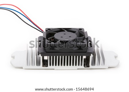cpu cooler with white background - stock photo