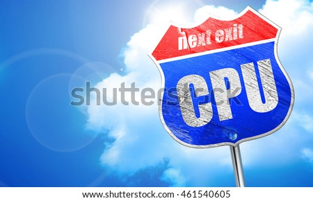 cpu, 3D rendering, blue street sign
