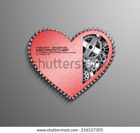 CPU. Gears inside heart processor. 3d - stock photo