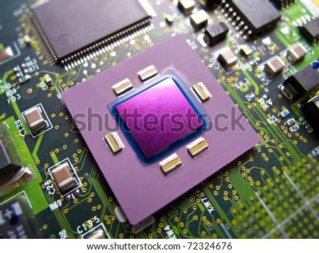CPU macro photo - stock photo