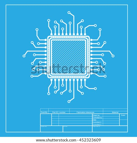CPU Microprocessor illustration. White section of icon on blueprint template. - stock photo