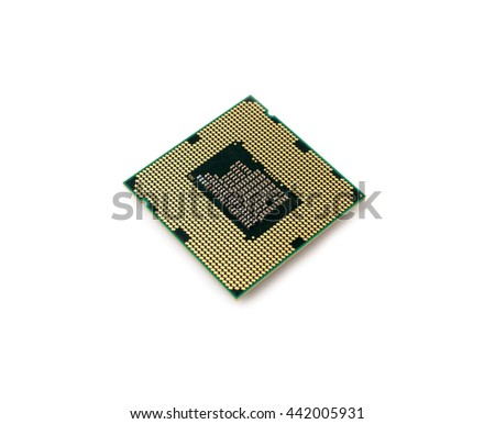 CPU microprocessor on white background