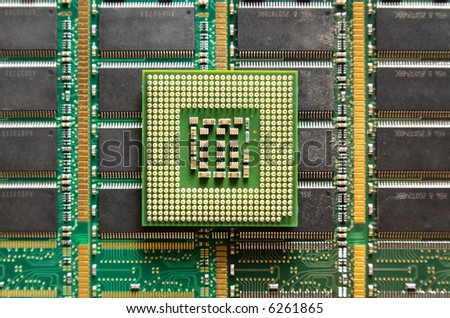 Cpu on computer chip background. - stock photo