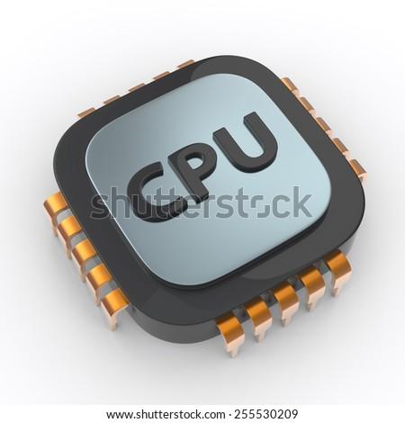 Cpu processor on white background - stock photo