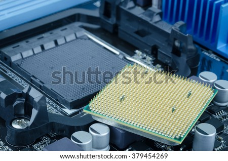 CPU processor, The main components of a computer motherboard - stock photo