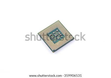 CPU, RAM module on white background. Selective focus. Shallow DOF - stock photo
