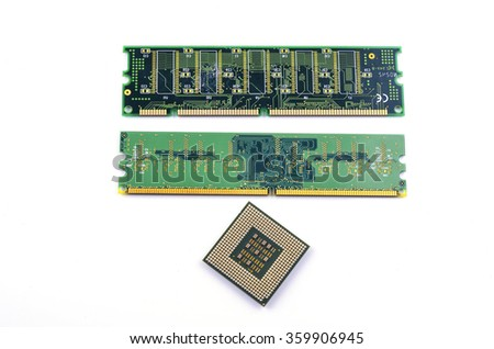 CPU, RAM module on white background. Selective focus. Shallow DOF. - stock photo
