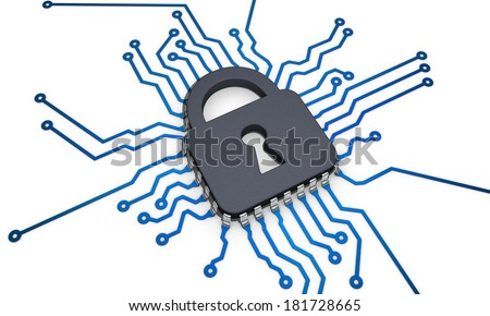 CPU security lock - stock photo