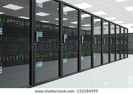 CPU Server Unit Room Data Center - stock photo